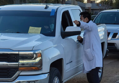 Student volunteers and Adventist Health professionals adminstered 500 vaccines at this drive through event.